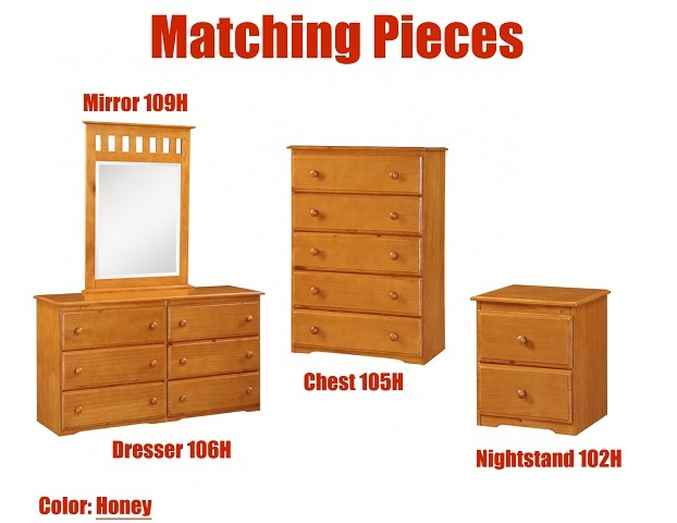 Honey Donco Trading Nightstand 102H, Dresser 106H, Mirror 109H, & Chest 105H