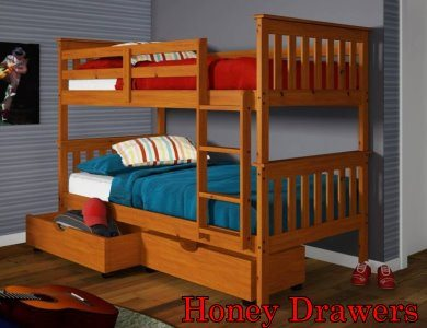 120 Honey Twin/Twin Bunkbed with Drawers