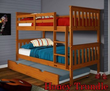 120 Honey Twin/Twin Bunkbed with Trundle
